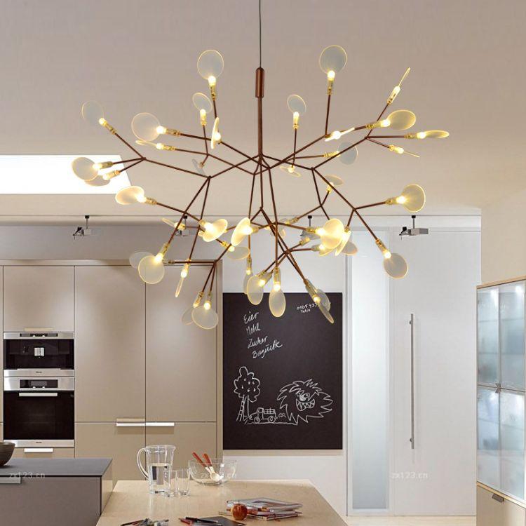 灯具艺术亚克力吊灯 萤火虫吊灯led个性北欧叶子灯餐厅创意吊灯