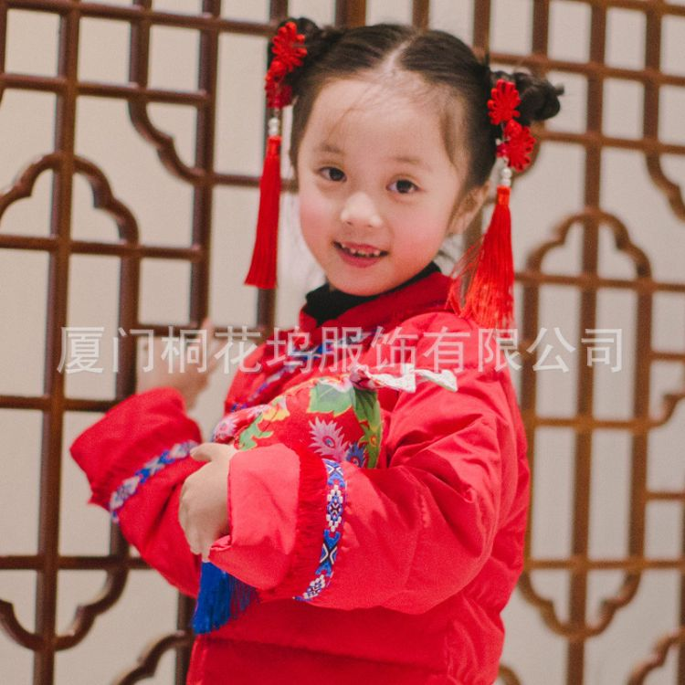 桐花坞女童唐装羽绒服旗袍冬装红色新年装