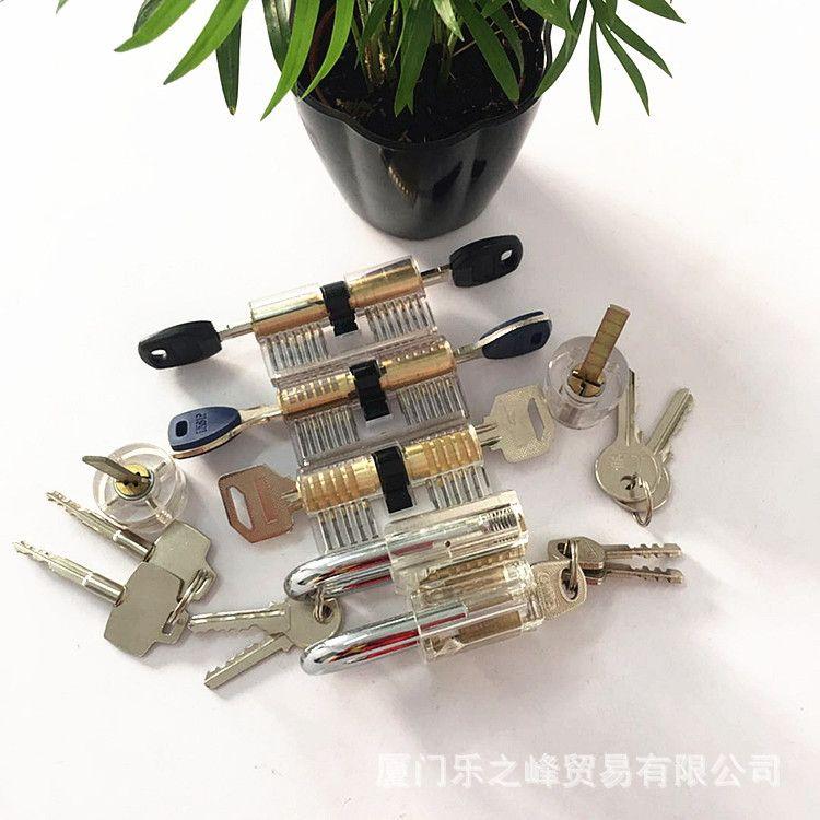 外贸热销 Transparent lock 锁匠透明鎖練功鎖 七件套组合套装
