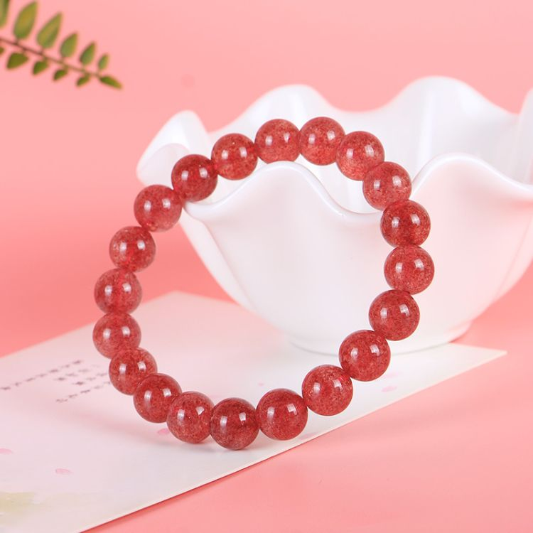 天然鸽血红冰种草莓晶粉水晶手链正品转运招财招桃花手串