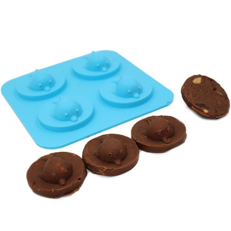 跨境新品环保硅胶可爱海豚冰格创意巧克力模具DIY烘焙工具批发