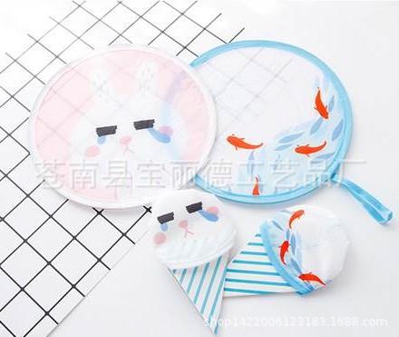 厂家定制生产销售可折叠小圆扇 手腕绳折扇 涤纶布艺折扇