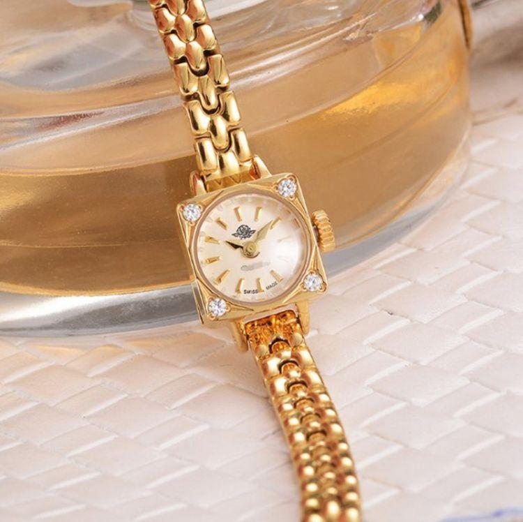 日系风格方形链条金银女士手表腕表心有猛虎细嗅玫瑰 手链表夏日
