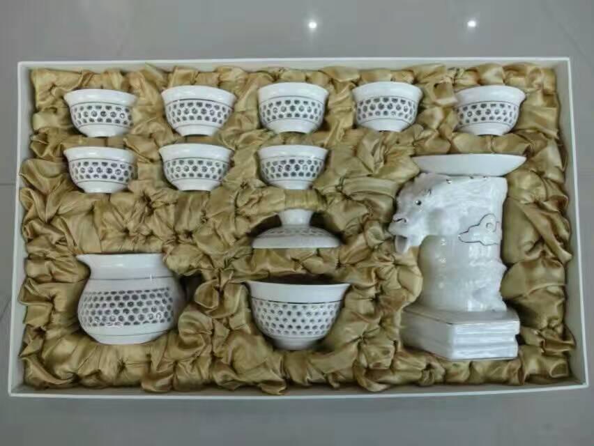 感应全自动玲珑功夫茶具蜂巢半自动茶具套装懒人自动出水金边茶具