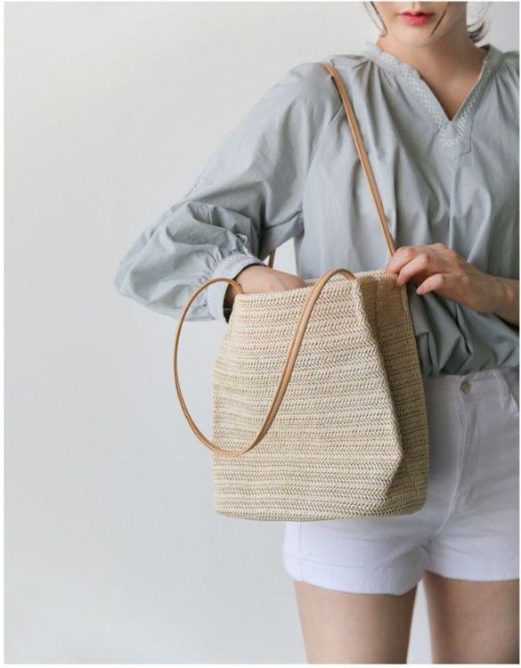 韩国官网同款ins草编包单肩水桶包2018春夏新款度假沙滩包礼品包