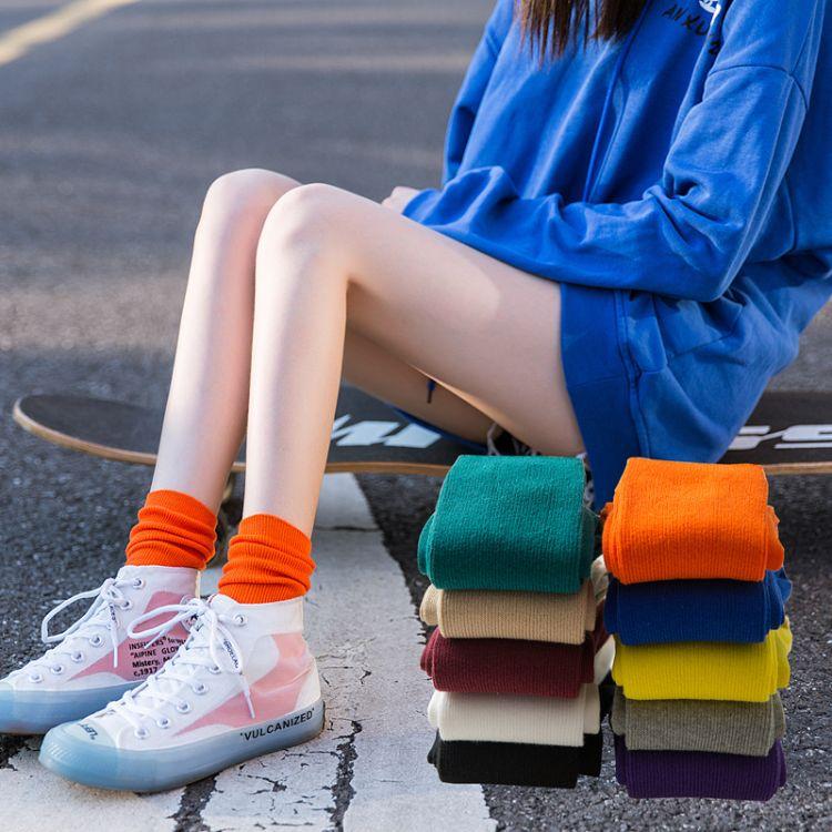 秋冬新品双针堆堆袜 简约纯棉长筒袜 女士中筒棉袜 ins亮色潮袜