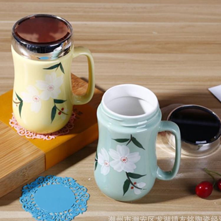 创意陶瓷马克杯 赠品水杯 广告礼品杯镜面盖杯色釉手绘陶瓷杯