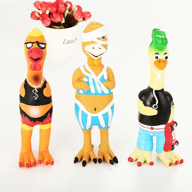天然乳胶玩具发声狗玩具趣味搞笑发声狗玩具怪叫鸡惨叫鸡外贸热销