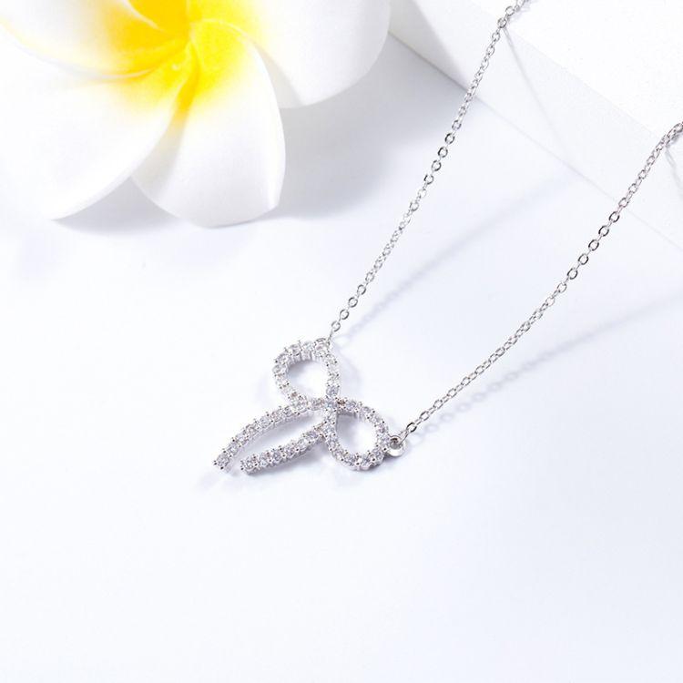 韓版簡約滿鉆小蝴蝶結時光之輪頸鏈鎖骨鏈項鏈
