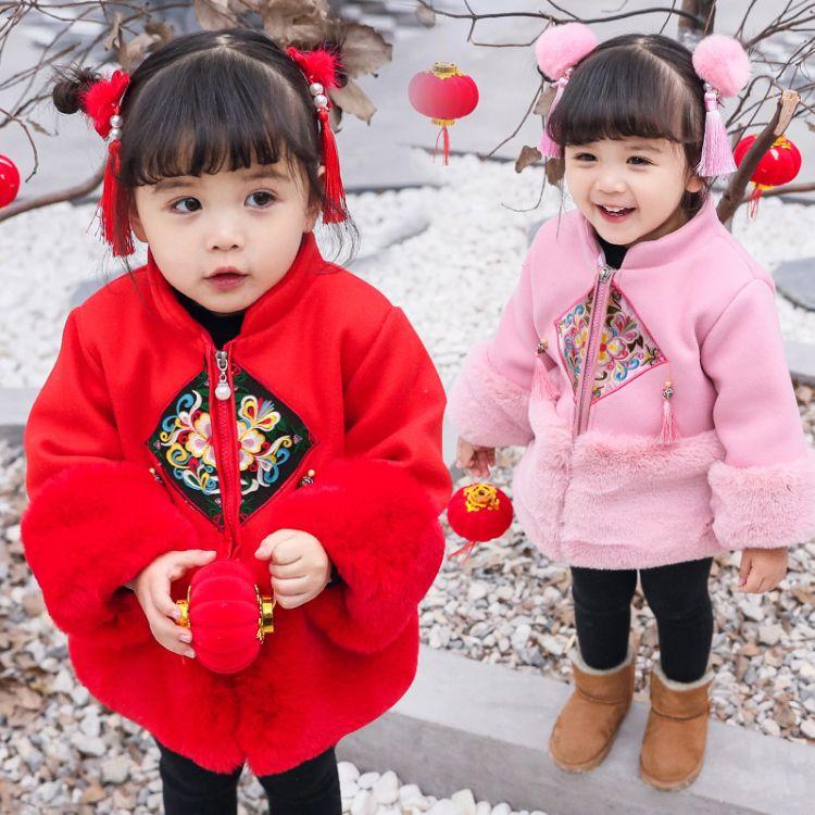 一件代发中小童加厚年服女童旗袍外套流苏唐装年服女宝宝拜年服