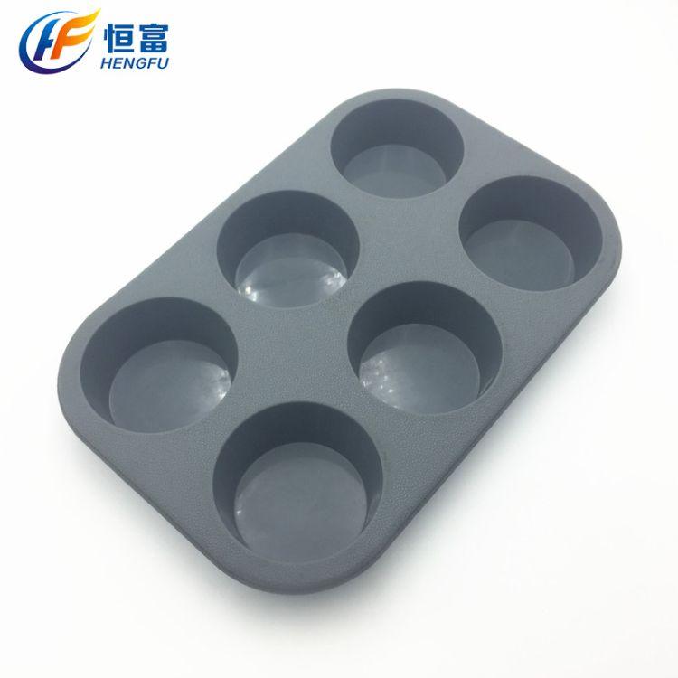 厂家现货供应6连圆形硅胶蛋糕模  6孔马芬杯 DIY烘焙工具