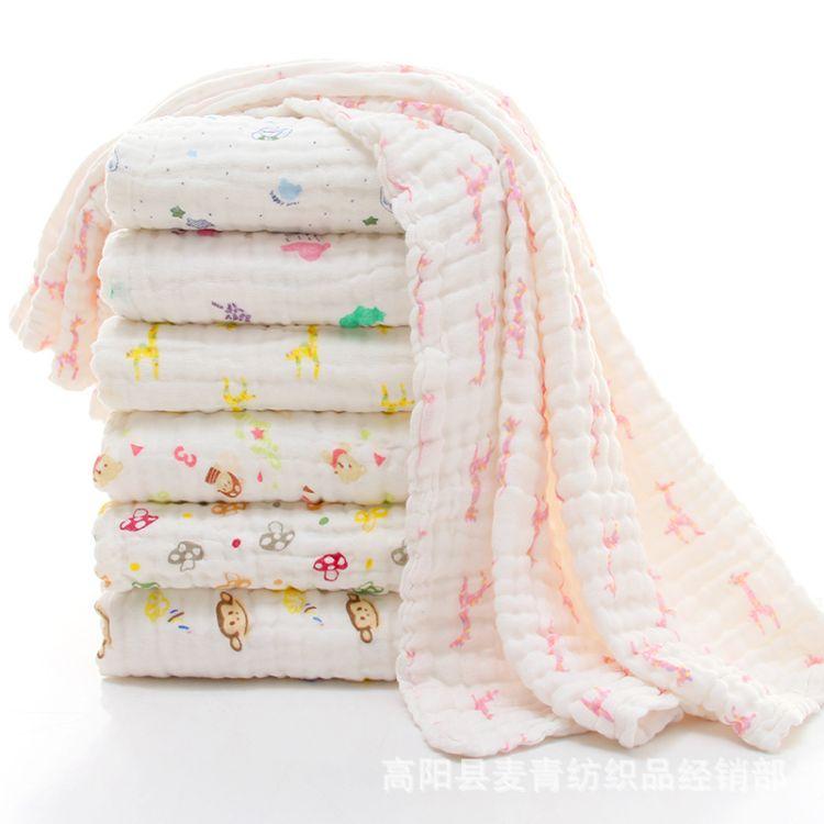 六层纯棉高密泡泡纱布浴巾婴幼儿童被盖毯新生儿抱被无荧光剂印花