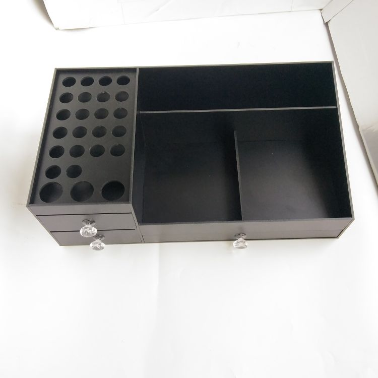 定制批发亚克力黑色化妆品收纳盒亚克力化妆盒亚克力化妆收纳盒