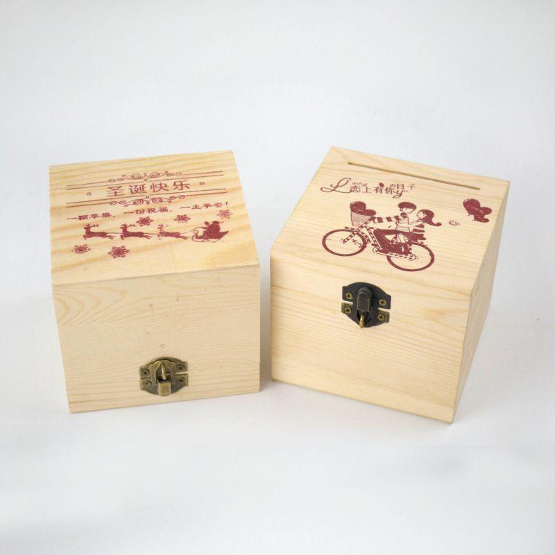 创意实木平安果木盒木质存钱罐创意装饰礼品工艺品木制工艺摆件