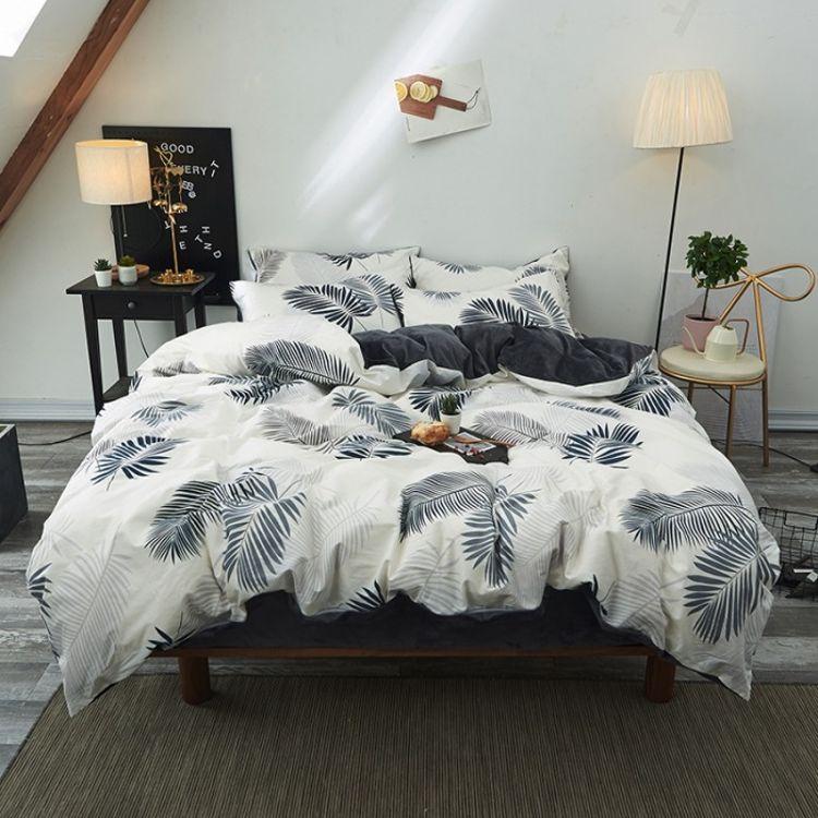 秋冬加厚加绒保暖A版全棉B版水晶绒四件套防静电单双卡通床上用品