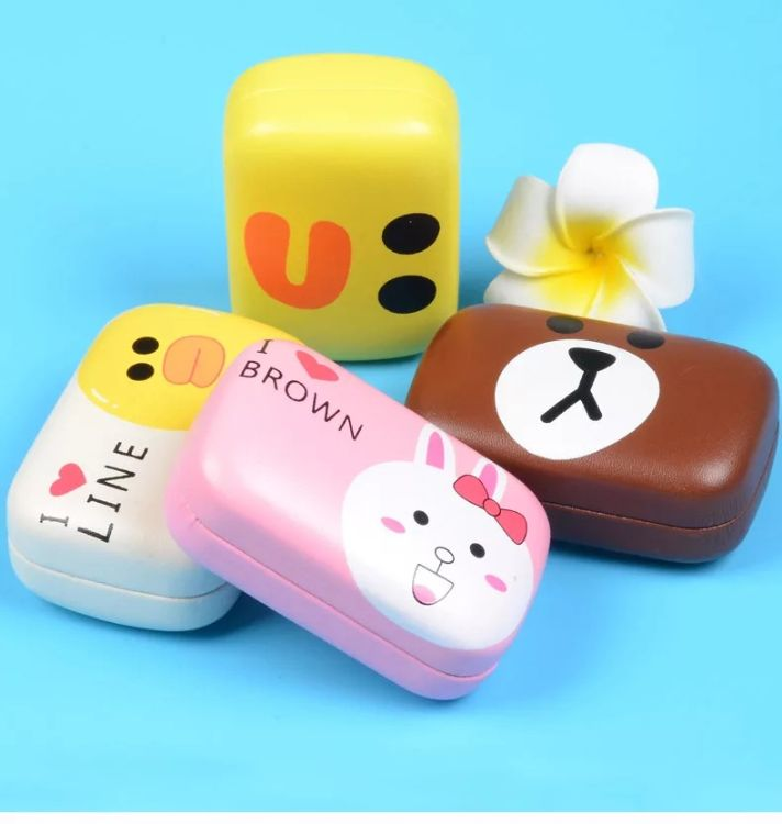 呆萌卡通朗熊小鸡萌兔清爽水果隐形近视眼镜盒伴侣盒可爱美瞳护理
