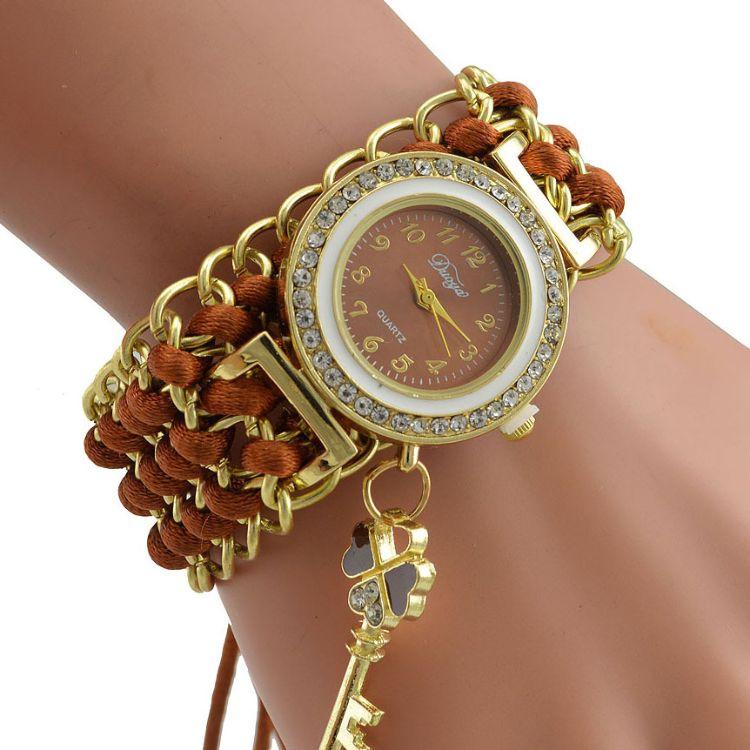Duoya爆款 經典韓國鑲鉆編織鑰匙吊墜手鏈表 女士彩色纏繞手鏈表