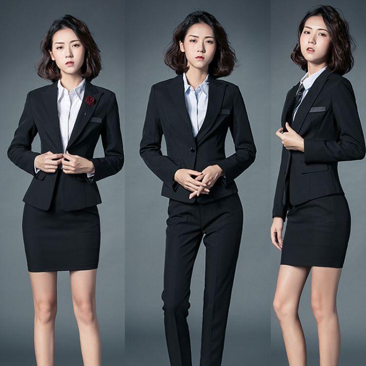 秋冬新款韩版西装女职业套装商务修身西服美容师工作服女工装制服