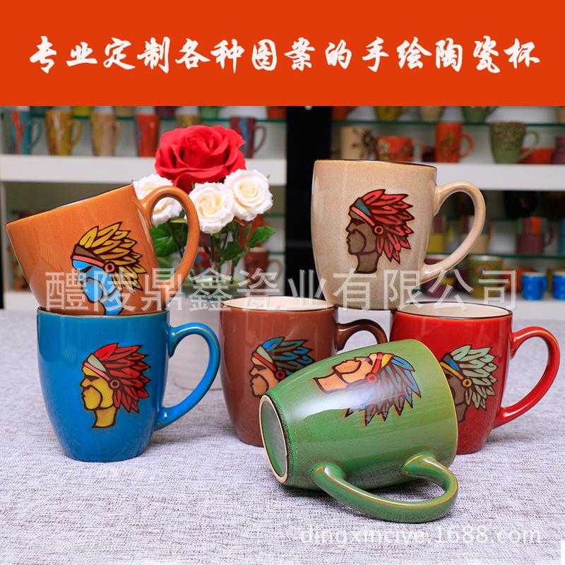 手绘陶瓷釉下彩大容量陶瓷水杯 办公室家用马克杯 情侣杯定制LOGO