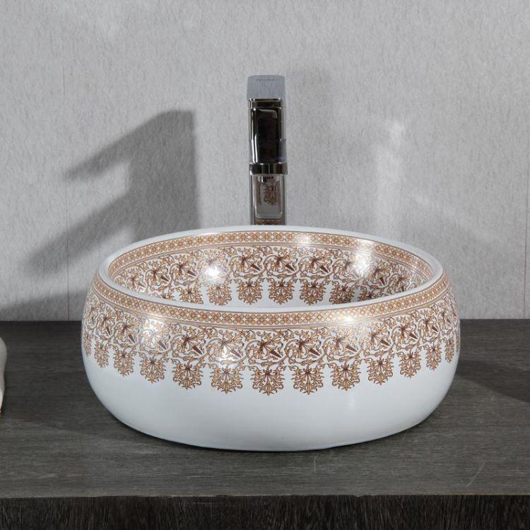若水台上盆 圆形陶瓷艺术盆台上盆复古波西米亚风洗脸池