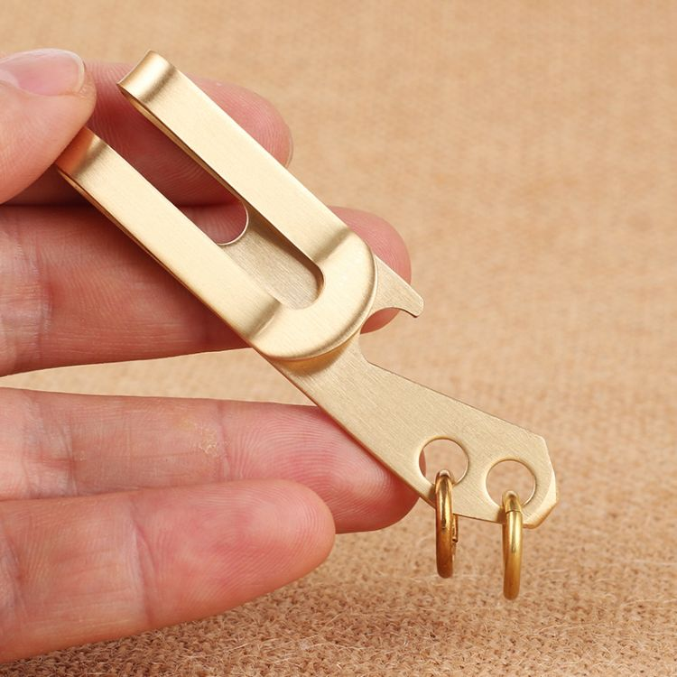 多功能金属钱夹  黄铜钞票夹 带开瓶器户外腰夹 三合一票据卡夹