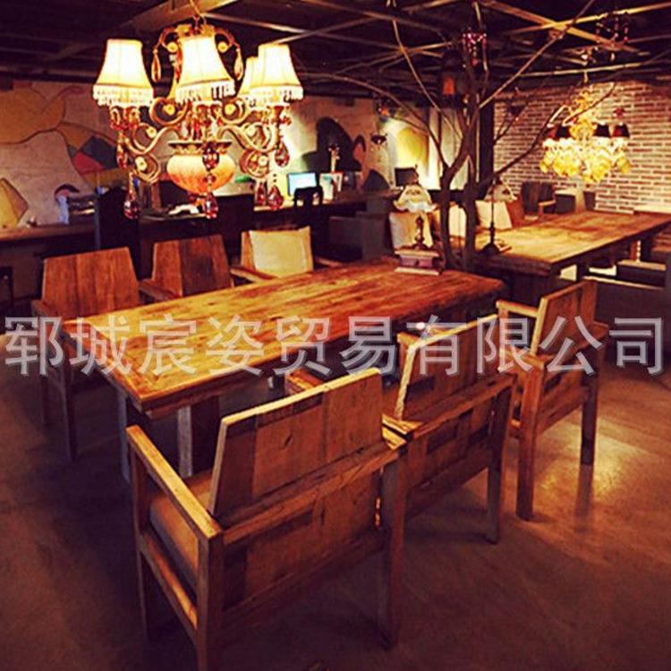 老榆木门板 风化纹 老榆木板材 老榆木家具定制 老榆木茶桌椅组合