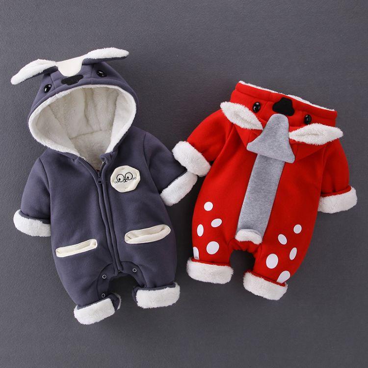 爆款婴幼儿服饰冬季连体衣男女宝宝加厚保暖新生儿外出抱服