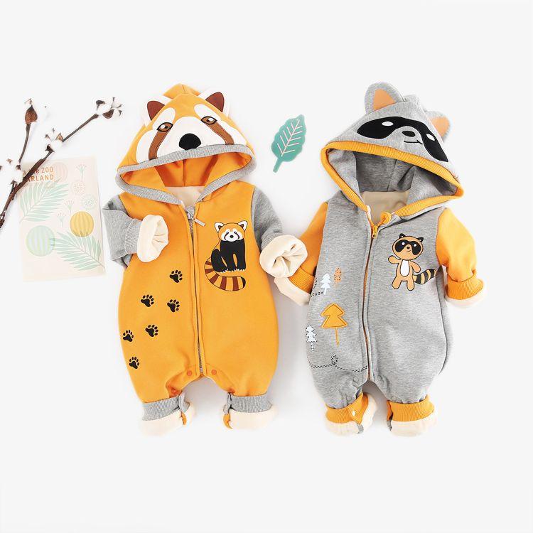 欧美热卖卡通浣熊哈衣亚马逊爆款动物造型婴儿连体衣加绒连帽爬服