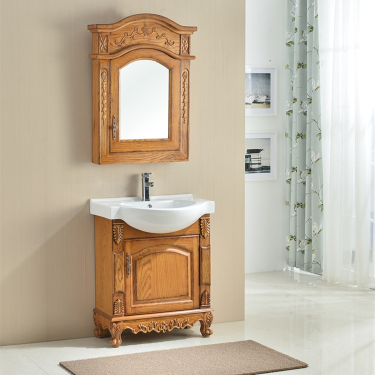 1068古典浴室柜水曲柳浴室柜水曲柳浴室柜原木色70cm浴室柜