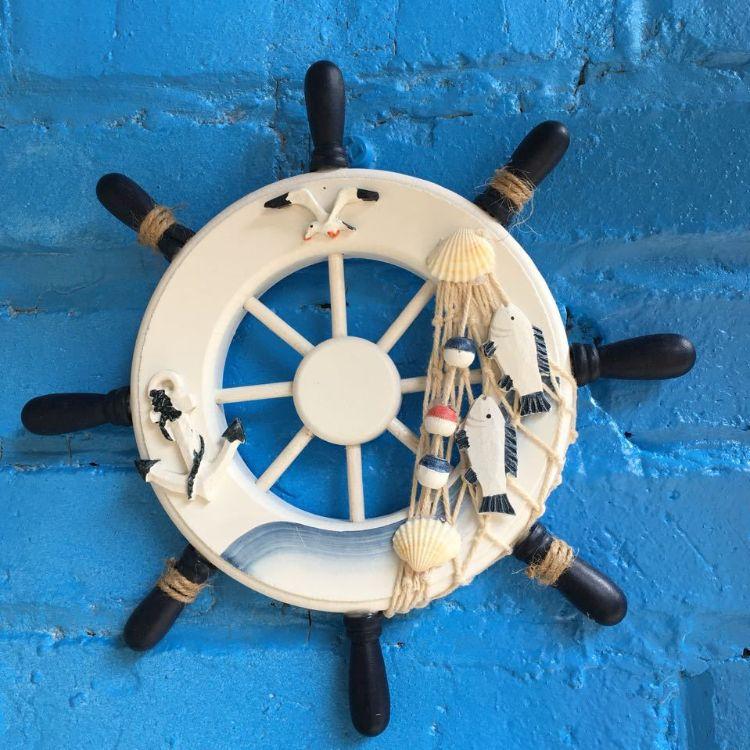 地中海风格装饰木质挂件方向盘舵手船舵壁挂酒吧咖啡厅背景墙墙饰