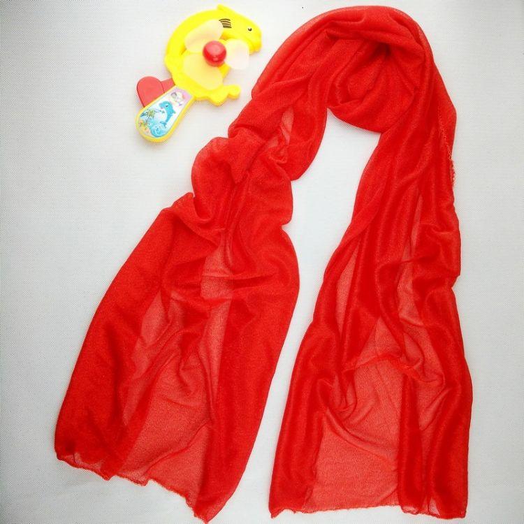 春夏四季新款中國紅冰蠶紅絲巾活動送禮韓版百搭會銷禮品圍巾批發