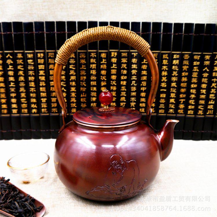 瀛工堂新款斑铜智慧尊者铜壶厂家直销茶具套装烧水壶支持一件代发