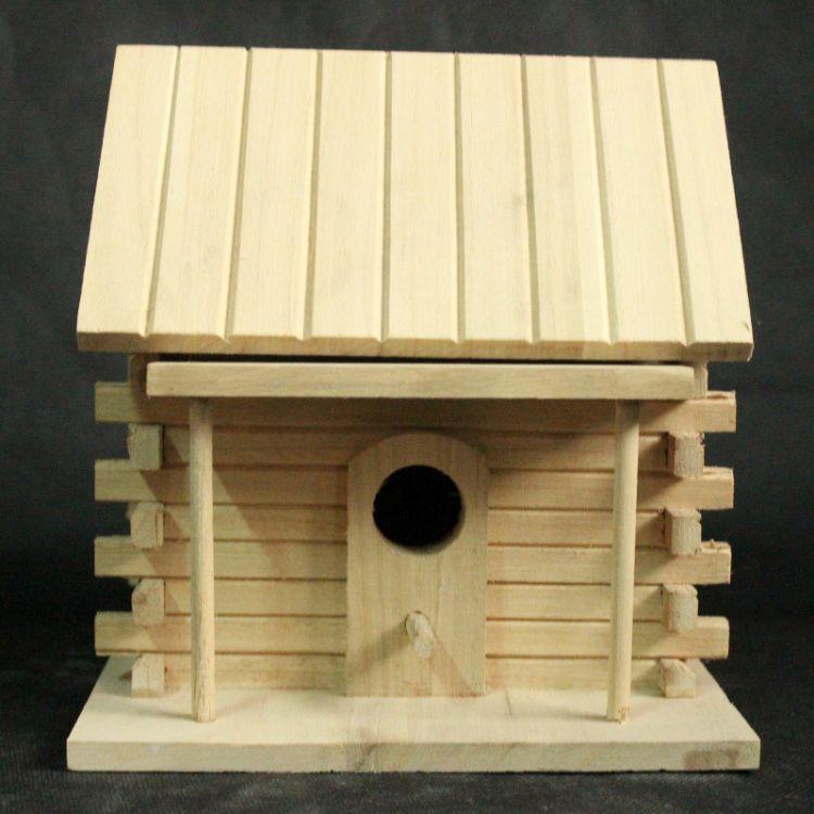 泰达工艺品直销多款木质鸟窝鸟屋 原木色精美户外木头鸟屋鸟房子