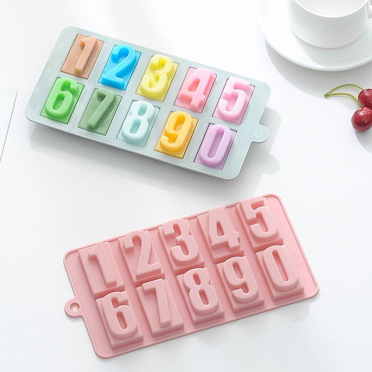 一心  0-9 数字硅胶巧克力模 硅胶手工皂翻糖冰格模具生日快乐模