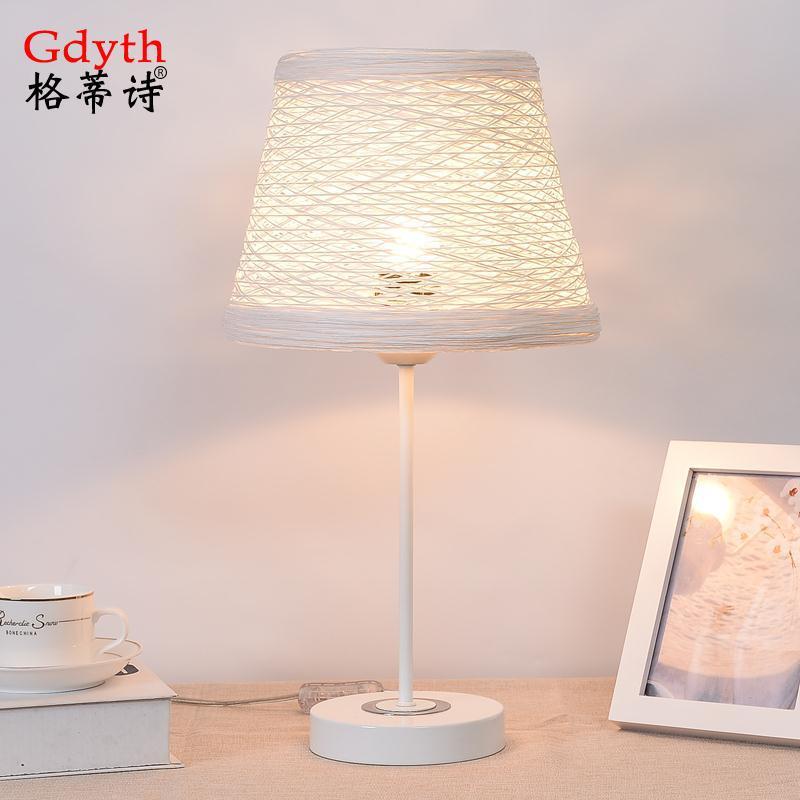 工厂批发零售布艺台灯简约家用客厅卧室床头灯书房书桌照明台灯
