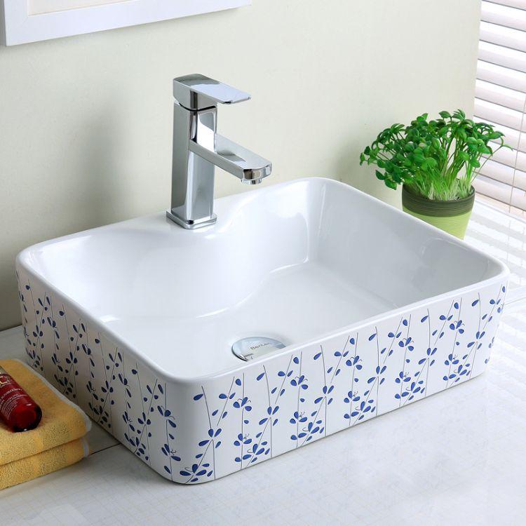 若水卫浴台上盆 陶瓷长方形艺术盆 简约田园洗手池脸盆台盆卫生间