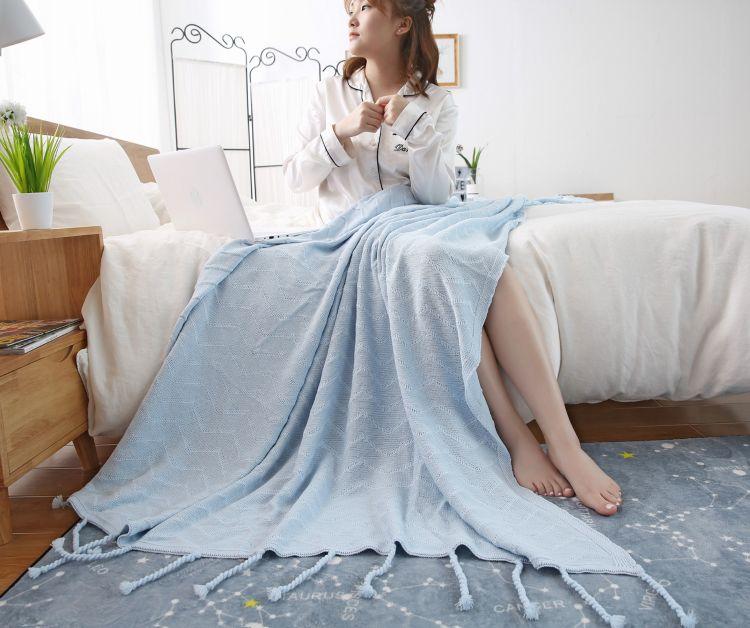 全棉流苏毯新款时尚条纹针织毯子办公室午休空调毯厂家批发