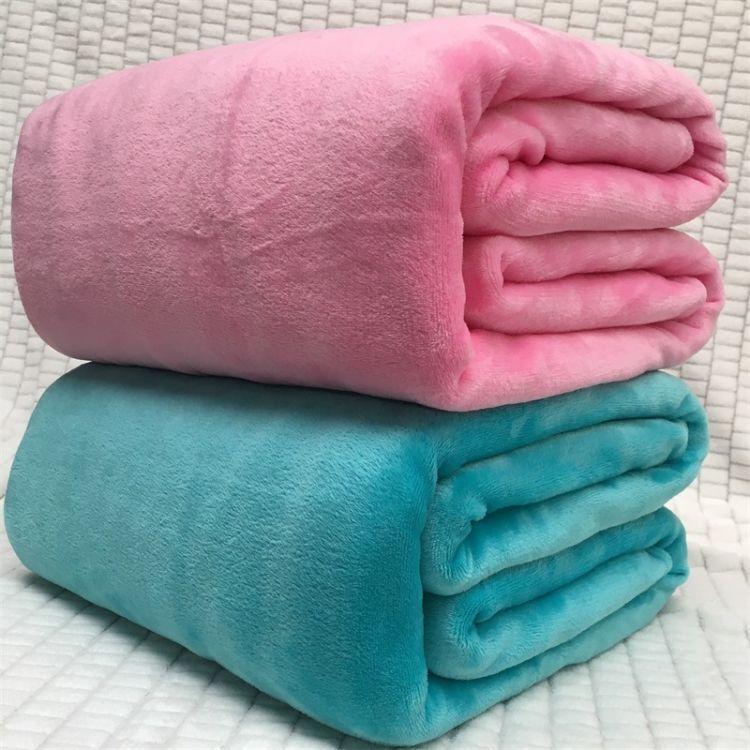 厂家直销纯色法兰绒珊瑚绒毛毯素色法莱绒毛毯定制膝盖毯子婴儿毯