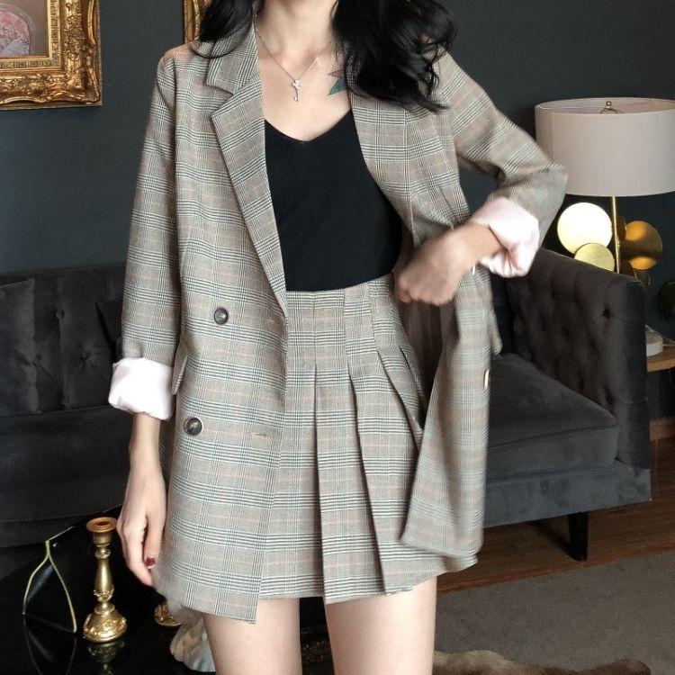 新款格子西装外套高腰百褶半身裙九分裤西裤三件套港风时尚套装女
