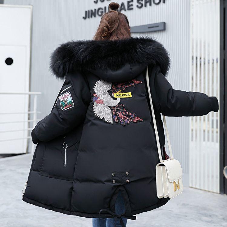 羽绒服女2018新款韩版外套 大毛领连帽羽绒服女中长款一件代销
