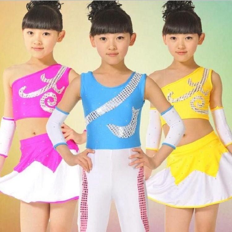 儿童健美操服男女童体操舞蹈服少儿健身舞表演服练功服斜肩舞蹈服