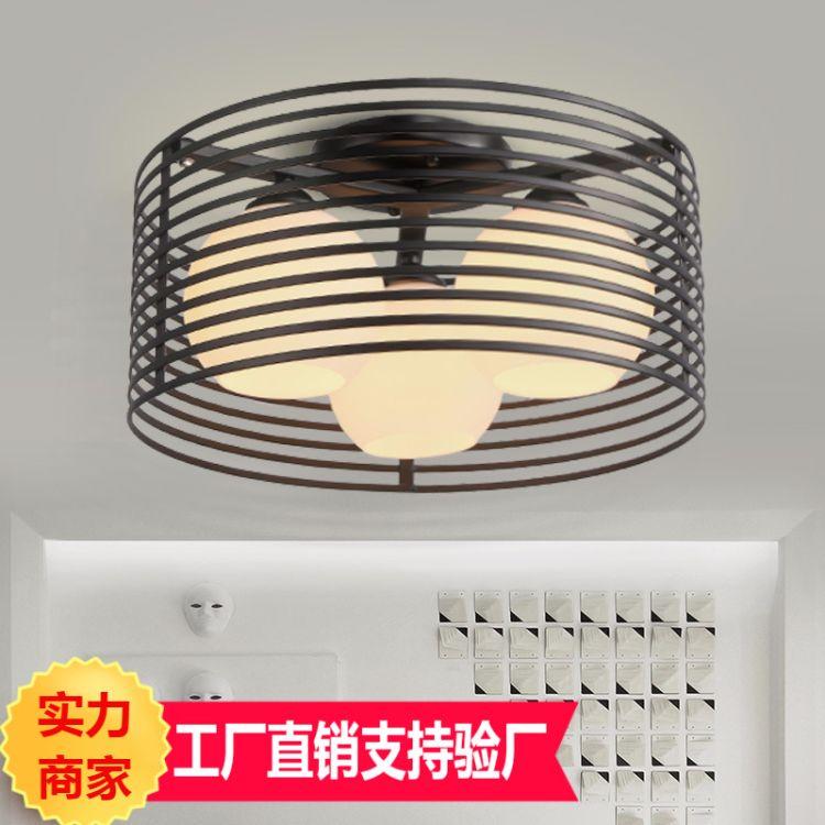 45厘米圆形卧室灯黑白色铁艺LED吸顶灯现代简约灯具灯饰小客厅灯