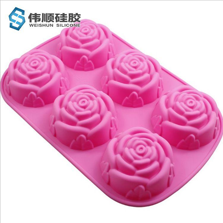 厂家食品级6连玫瑰花硅胶蛋糕模具 手工DIY果冻布丁月饼肥皂模