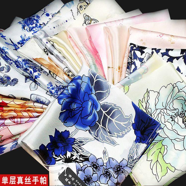 新品丝绸桑蚕丝素绉缎胸巾小手绢礼品印花古典中国风真丝手帕女士
