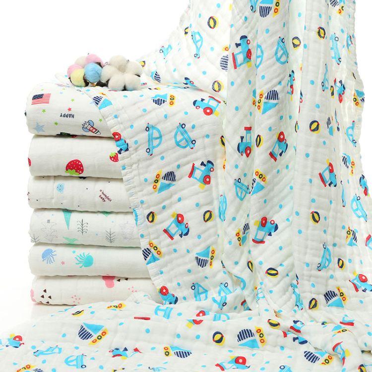 logo定制童被纯棉六层纱布婴儿抱被儿童泡泡浴巾幼儿园宝宝盖毯