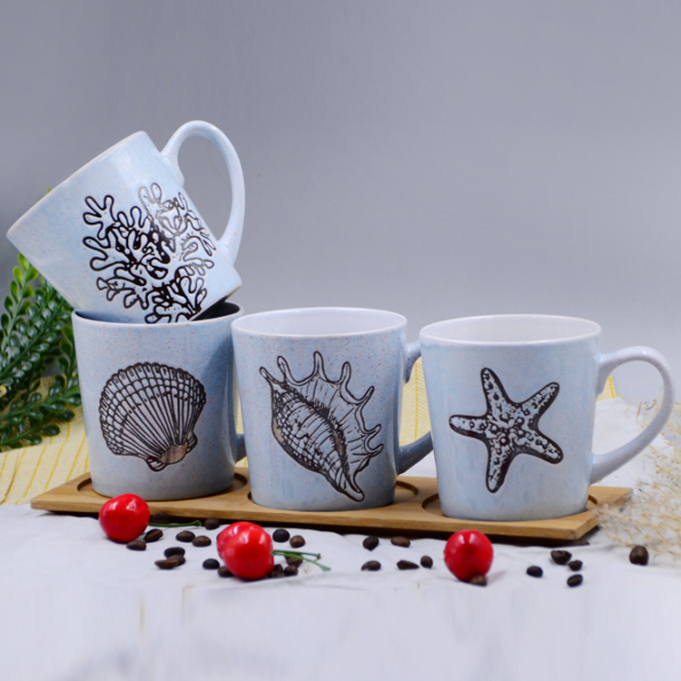 陶瓷马克杯 金属釉创意贝壳海星水杯咖啡杯 陶瓷杯订制批发