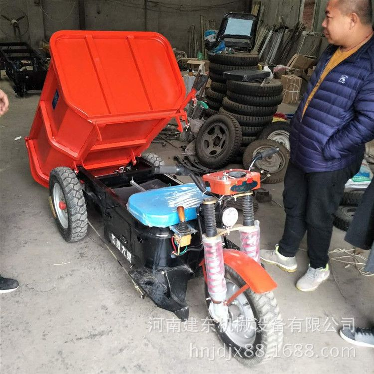 火爆销售小型电动灰斗车 建筑工地手扶式灰斗车 电动搬运车