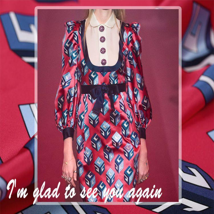 常发纺织新款数码印花布 魔方印花 国际大牌重磅女装真丝双绉面料