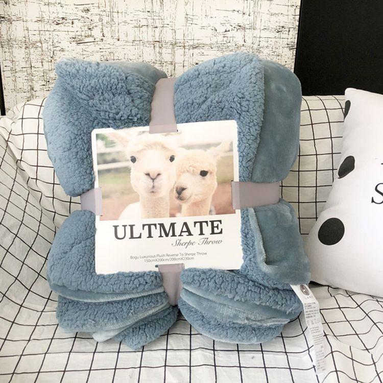厂家直销纯色羊羔绒毛毯双层法兰绒毯子 加厚珊瑚绒毯礼品毯批发