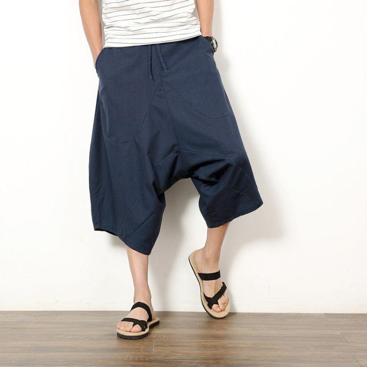 夏季新款男式中国风抽绳棉麻七分裤加大码宽松休闲裤亚麻低档垮裤